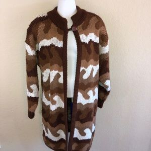 Vintage 80s Brown Tan Camouflage Cardigan Medium